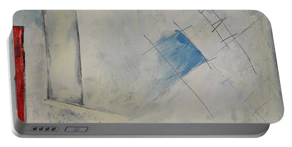 Abstract Portable Battery Charger featuring the painting Anticipating The Resurgence Of The Liberal Media by Tim Nyberg