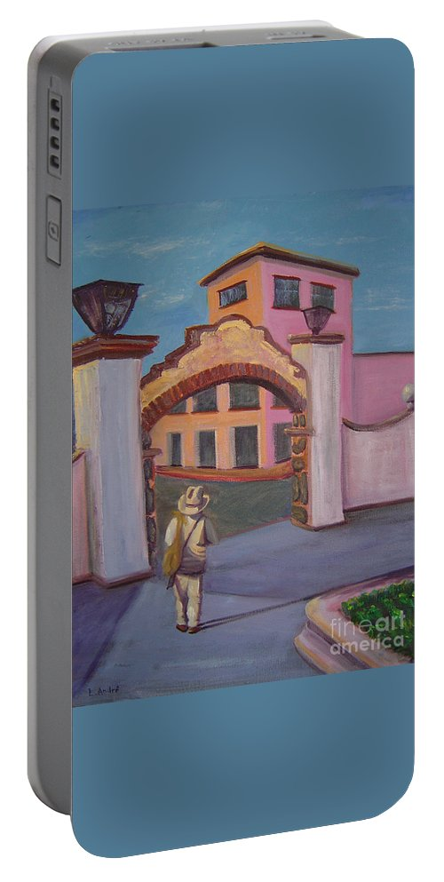 Mexico Portable Battery Charger featuring the painting Arco de Jiutepec by Lilibeth Andre
