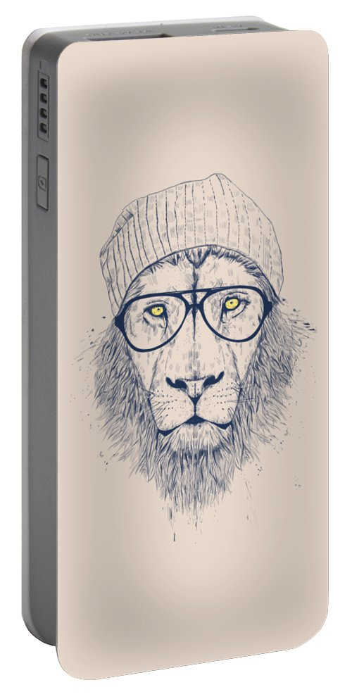 Lion Portable Battery Charger featuring the drawing Cool lion by Balazs Solti