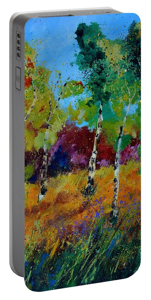 Landscape Portable Battery Charger featuring the painting Aspen trees in autumn by Pol Ledent