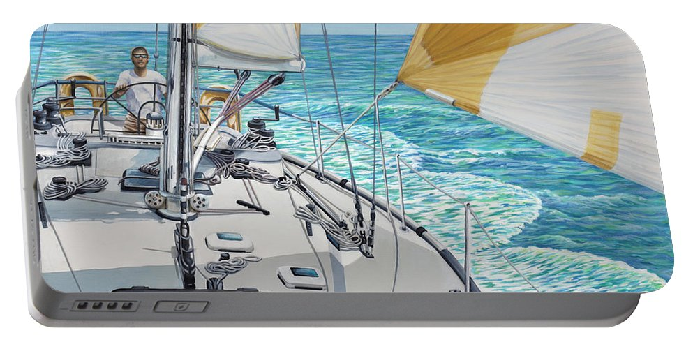 Seascape Portable Battery Charger featuring the painting At The Helm by Jane Girardot