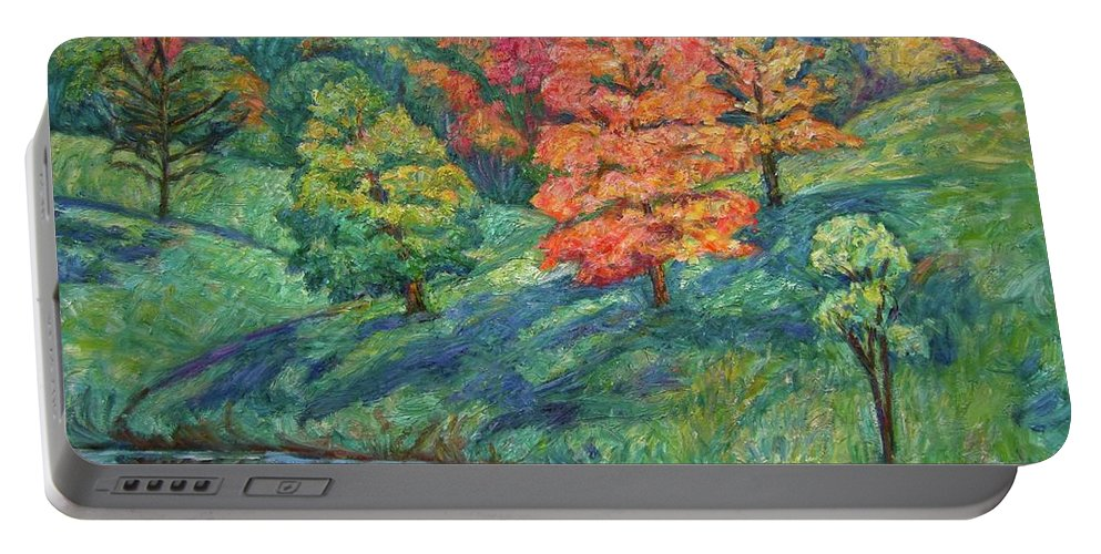 Landscape Portable Battery Charger featuring the painting Autumn Pond by Kendall Kessler