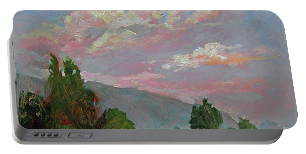 Plein Air Painting Of Clouds Portable Battery Charger featuring the painting Autumn Skies by Betty Jean Billups