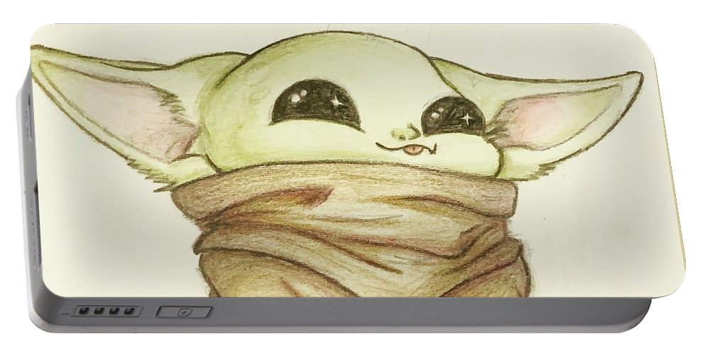 Baby Portable Battery Charger featuring the drawing Baby Yoda by Tejay Nichols