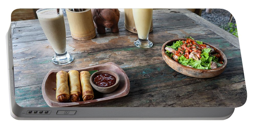 Indonesia Portable Battery Charger featuring the digital art Balinese dinner by Worldvibes1
