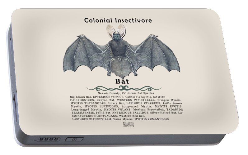 Bat Portable Battery Charger featuring the digital art Bats Of Nevada County by Lisa Redfern