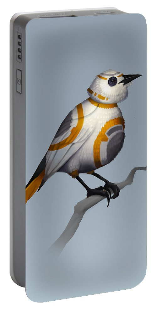 Birds Portable Battery Charger featuring the digital art BB Bird by Michael Myers