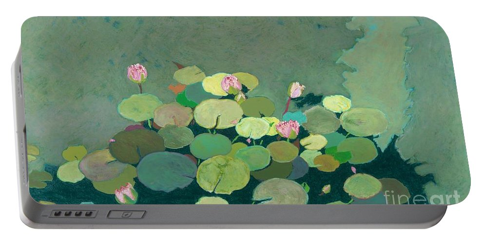 Landscape Portable Battery Charger featuring the painting Bettys Serenity Pond by Allan P Friedlander