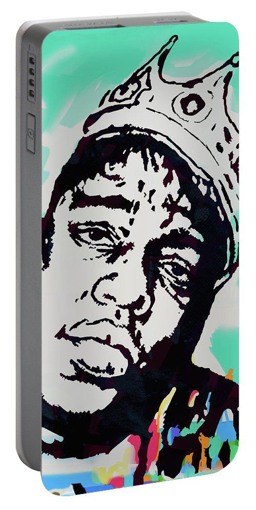 Biggie Smalls Colour Drawing Art Poster - Pop Art Portable Battery Charger featuring the mixed media Biggie Smalls - pop art poster 1 by Kim Wang