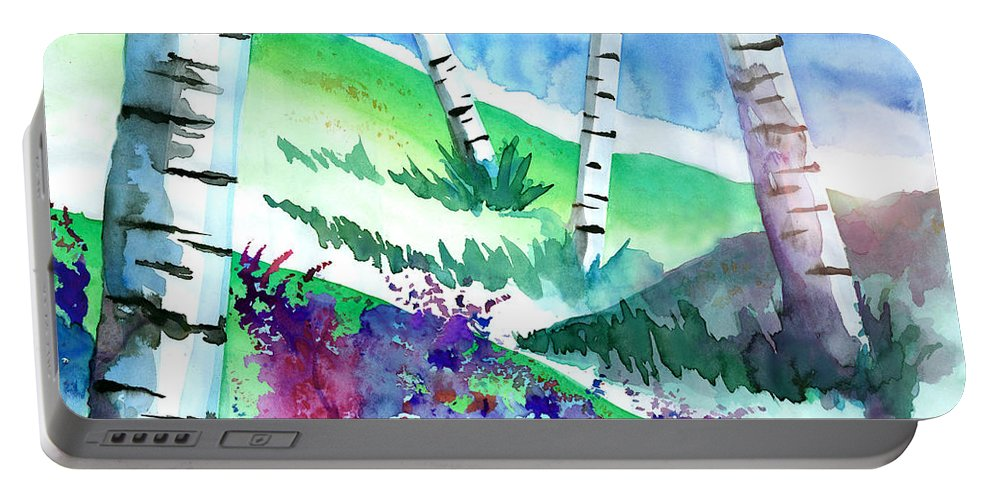 Watercolor Portable Battery Charger featuring the painting Birch Trees by Curtiss Shaffer