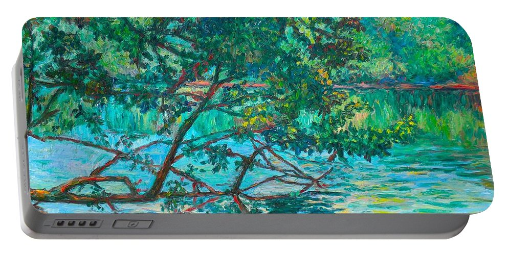 Landscape Portable Battery Charger featuring the painting Bisset Park by Kendall Kessler