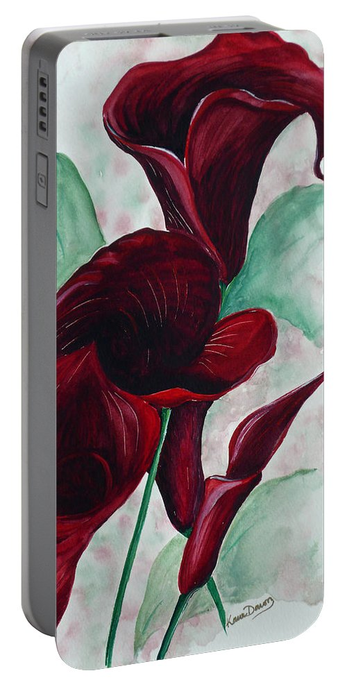 Flower Painting Floral Painting Botanical Painting Tropical Painting Caribbean Painting Calla Painting Red Lily Painting Deep Red Calla Lilies Original Watercolor Painting Portable Battery Charger featuring the painting Black Callas by Karin Dawn Kelshall- Best