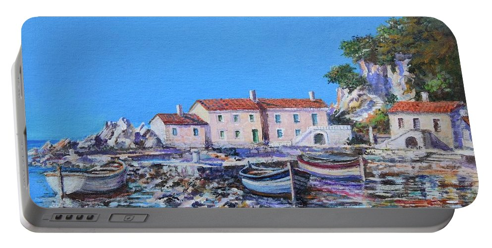 Original Painting Portable Battery Charger featuring the painting Blue Bay by Sinisa Saratlic