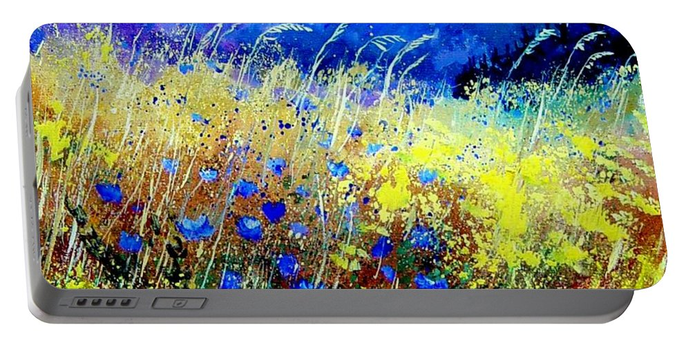 Poppies Portable Battery Charger featuring the painting Blue cornflowers 67 by Pol Ledent