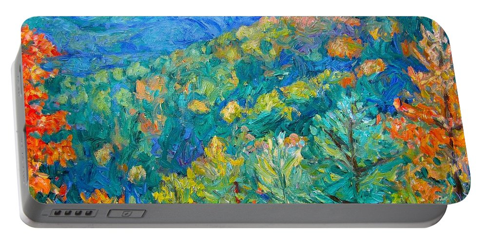 Blue Ridge Mountains Portable Battery Charger featuring the painting Blue Ridge Autumn by Kendall Kessler
