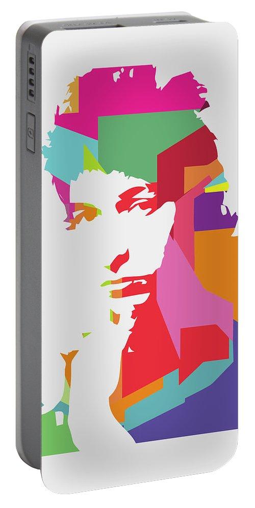 Bob Dylan Portable Battery Charger featuring the digital art Bob Dylan 3 POP ART by Ahmad Nusyirwan