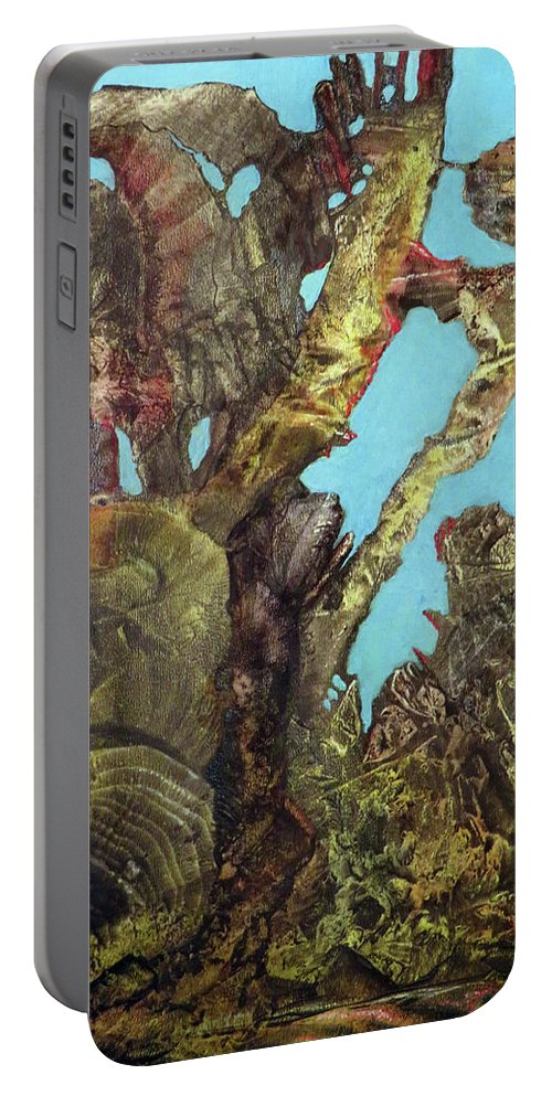 Fantasy Portable Battery Charger featuring the painting Bogomil Alien Landscape by Otto Rapp