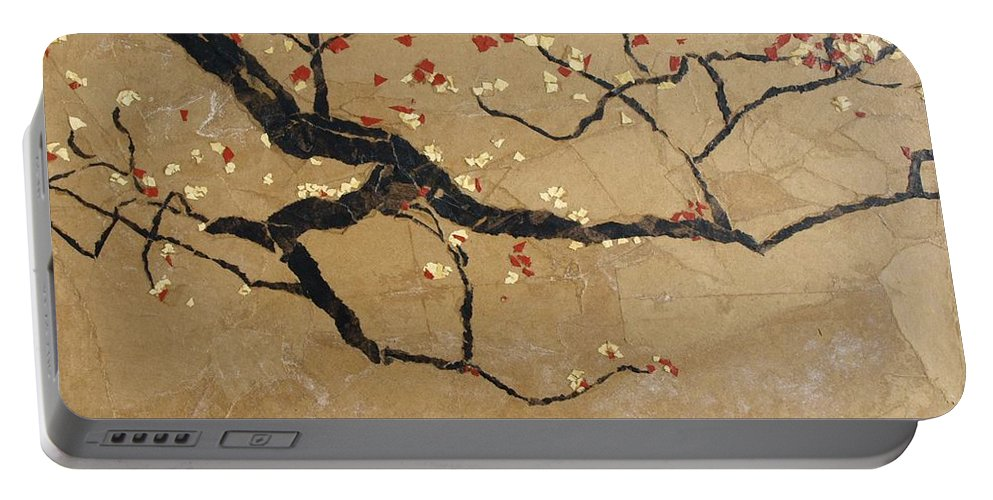 Blooming Branch Portable Battery Charger featuring the painting Branch by Leah Tomaino