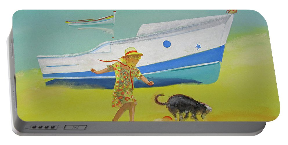 Girl Portable Battery Charger featuring the painting Brightly Painted Wooden Boats by Charles Stuart
