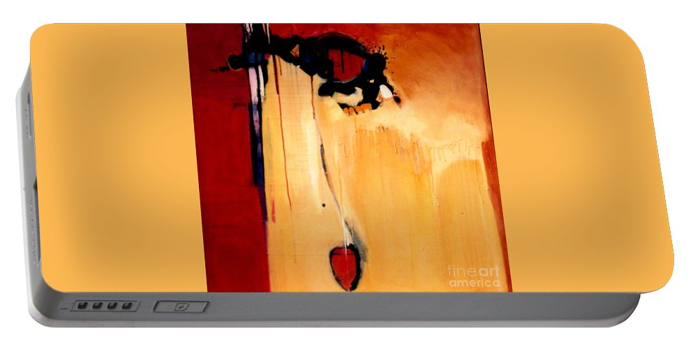 Abstract Portable Battery Charger featuring the painting Broken Heart by Marlene Burns