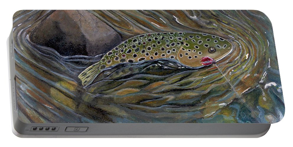 Rick Huotari Portable Battery Charger featuring the painting Brown II by Rick Huotari