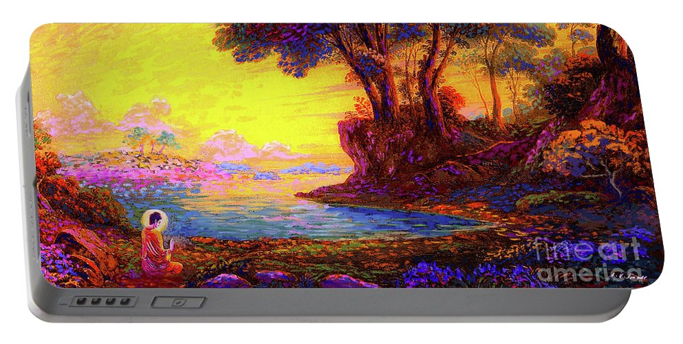 Meditation Portable Battery Charger featuring the painting Buddha Bliss by Jane Small