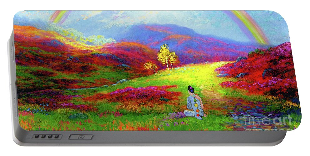 Meditation Portable Battery Charger featuring the painting Buddha Chakra Rainbow Meditation by Jane Small