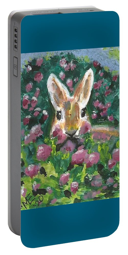 Bunny Painting Portable Battery Charger featuring the painting Bunny by Monica Resinger