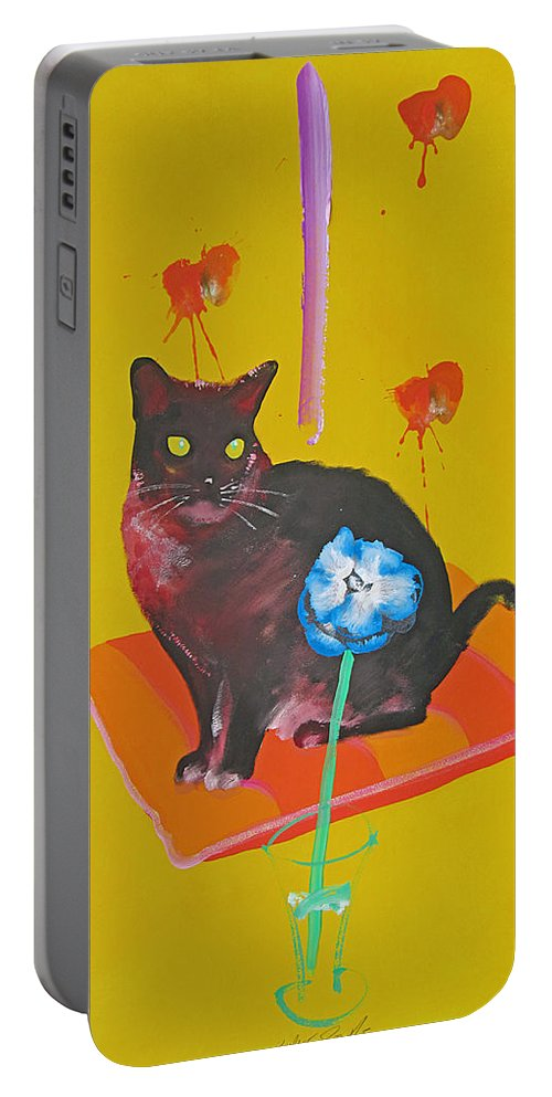 Burmese Cat Portable Battery Charger featuring the painting Burmese Cat on a Cushion by Charles Stuart