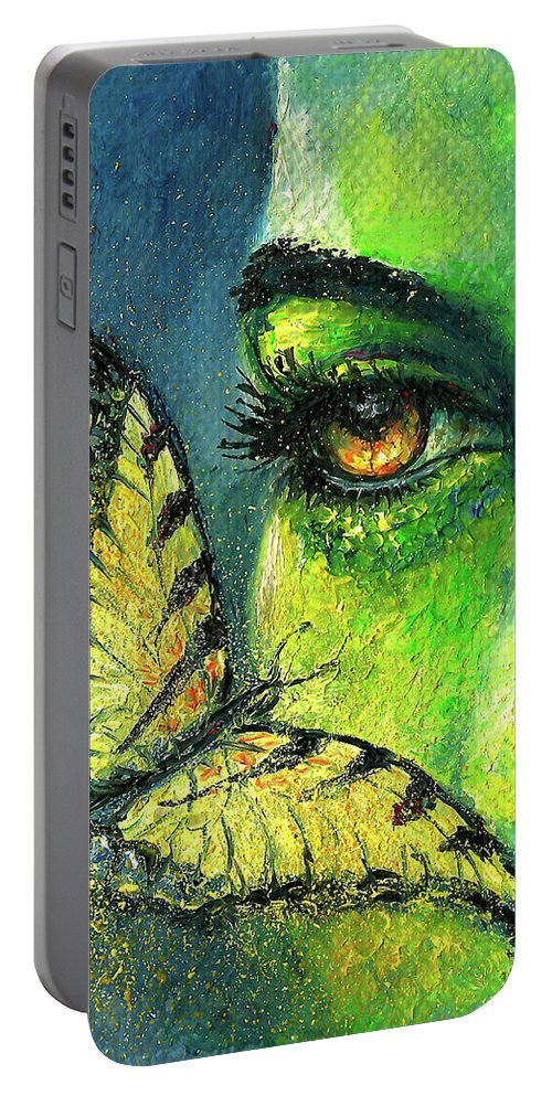 Woman Face Portable Battery Charger featuring the painting Butterfly Fantasy by Natalja Picugina
