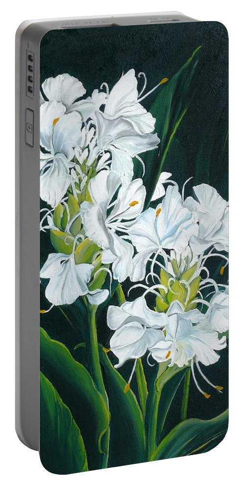 Caribbean Painting Butterfly Ginger Painting Floral Painting Botanical Painting Flower Painting Water Ginger Painting Or Water Ginger Tropical Lily Painting Original Oil Painting Trinidad And  Tobago Painting Tropical Painting Lily Painting White Flower Painting Portable Battery Charger featuring the painting Butterfly Ginger by Karin Dawn Kelshall- Best