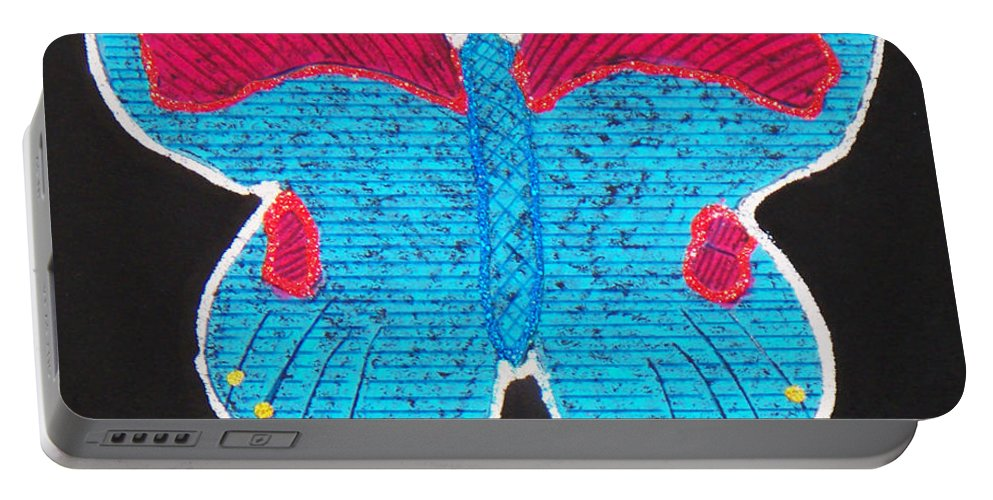 Drawing Portable Battery Charger featuring the mixed media Butterfly by Sergey Bezhinets