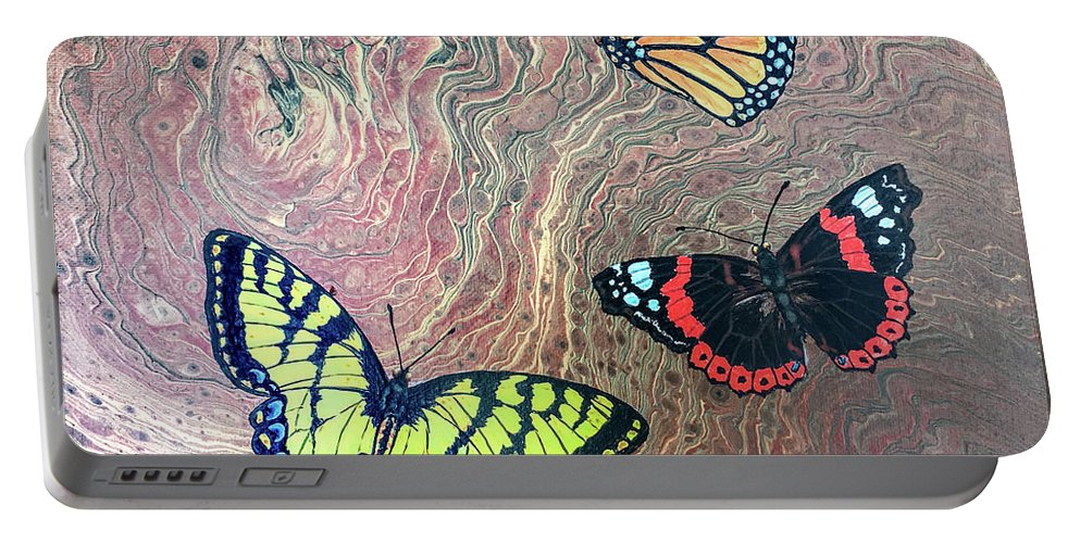 Butterflies Portable Battery Charger featuring the painting California Butterflies by Lucy Arnold