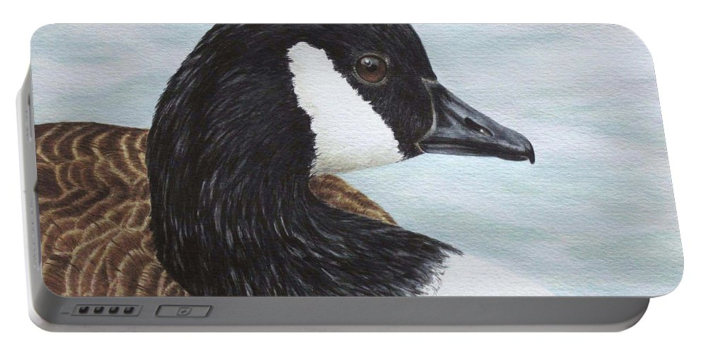 Goose Portable Battery Charger featuring the painting Canado Goose - Up Close by Elaine Booth-Kallweit