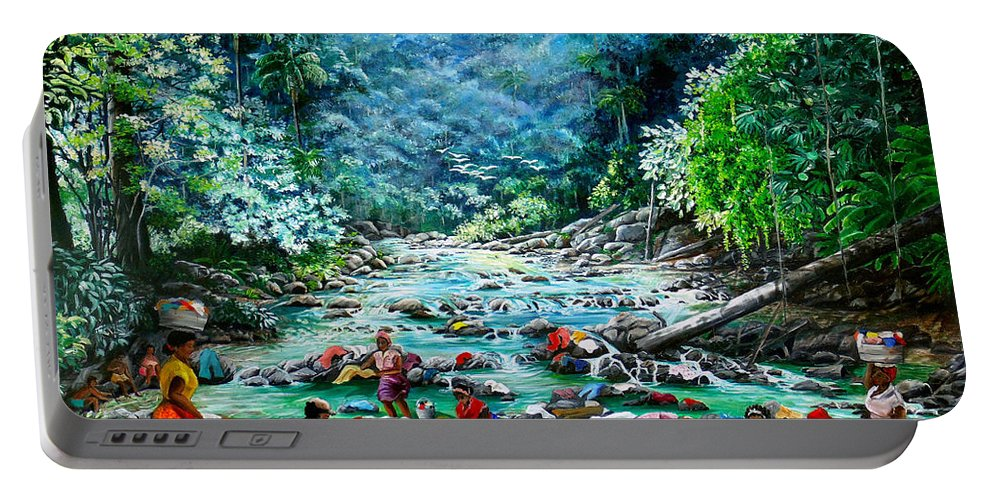 Land Scape Painting River Painting Mountain Painting Rain Forest Painting Washerwomen Painting Laundry Painting Caribbean Painting Tropical Painting Village Washer Women At A Mountain River In Trinidad And Tobago Portable Battery Charger featuring the painting Caribbean Wash Day by Karin Dawn Kelshall- Best