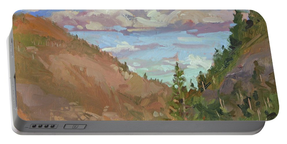 Montana Mountains Portable Battery Charger featuring the painting Carson Canyon by Betty Jean Billups