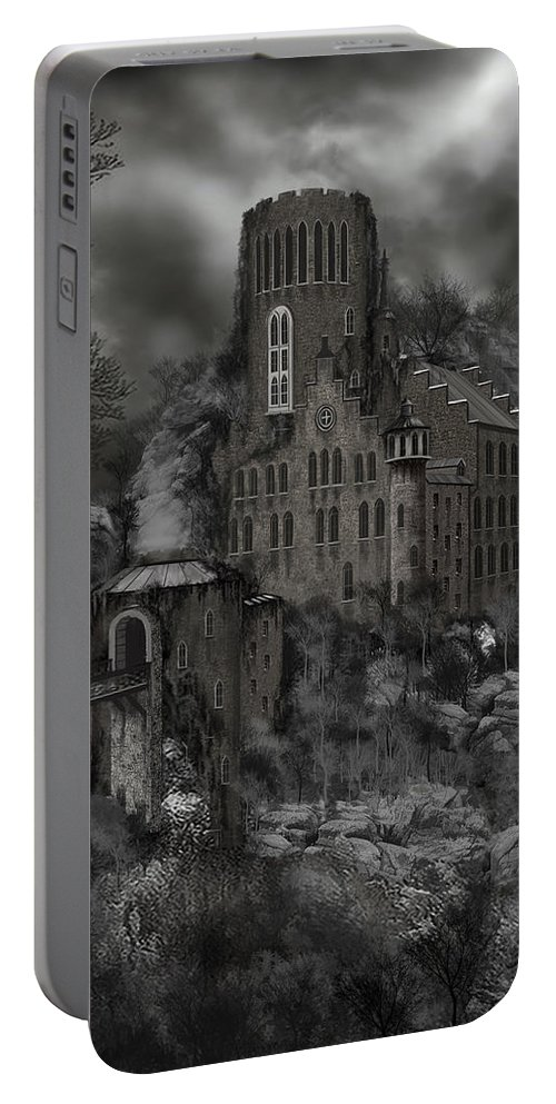 Castle Portable Battery Charger featuring the painting Casa Los Diavla by James Christopher Hill