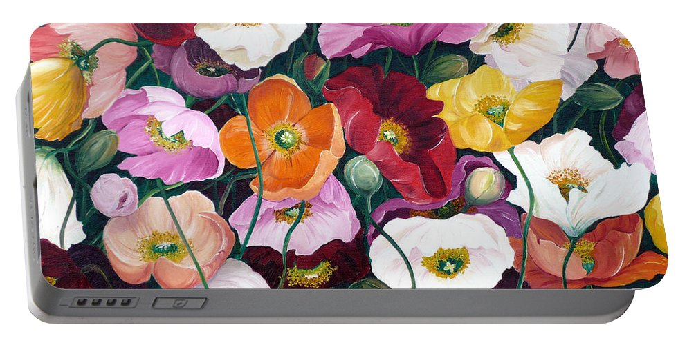 Flower Painting Floral Painting Poppy Painting Icelandic Poppies Painting Botanical Painting Original Oil Paintings Greeting Card Painting Portable Battery Charger featuring the painting Cascade Of Poppies by Karin Dawn Kelshall- Best