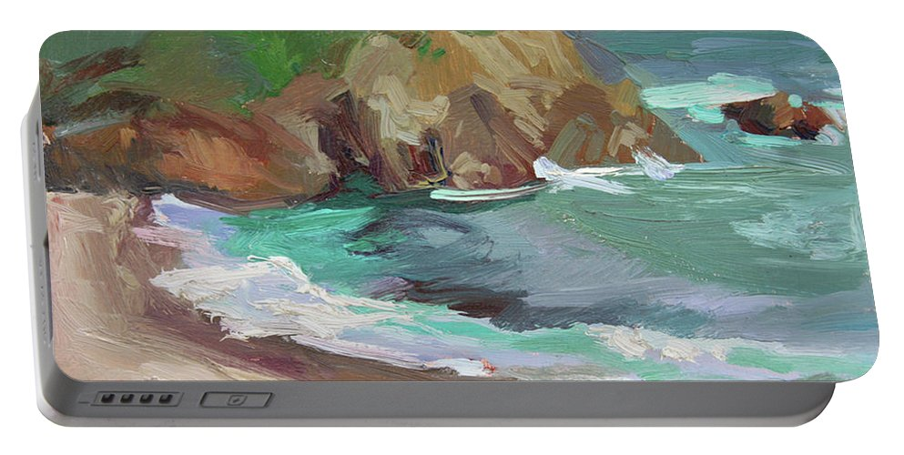 Catalina Island Plein Air Painting Portable Battery Charger featuring the painting Catalina Rocks by Betty Jean Billups