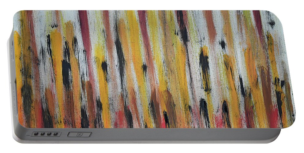 Red Portable Battery Charger featuring the painting Cattails at Sunset by Pam Roth O'Mara