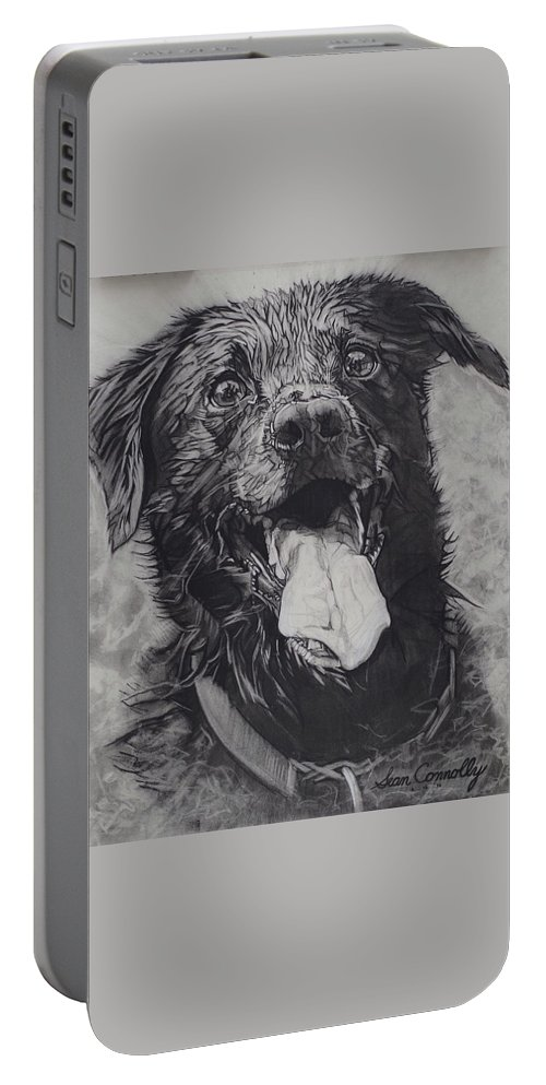 Charcoal Pencil Portable Battery Charger featuring the drawing Charlie Dog by Sean Connolly