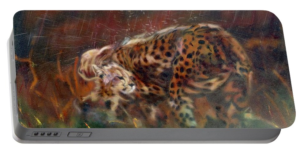 Oil Painting On Canvas Portable Battery Charger featuring the painting Cheetah Family After The Rains by Sean Connolly