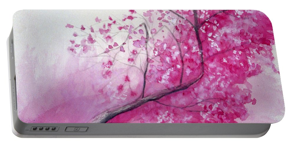 Rick Huotari Portable Battery Charger featuring the painting Cherry Tree In Bloom by Rick Huotari
