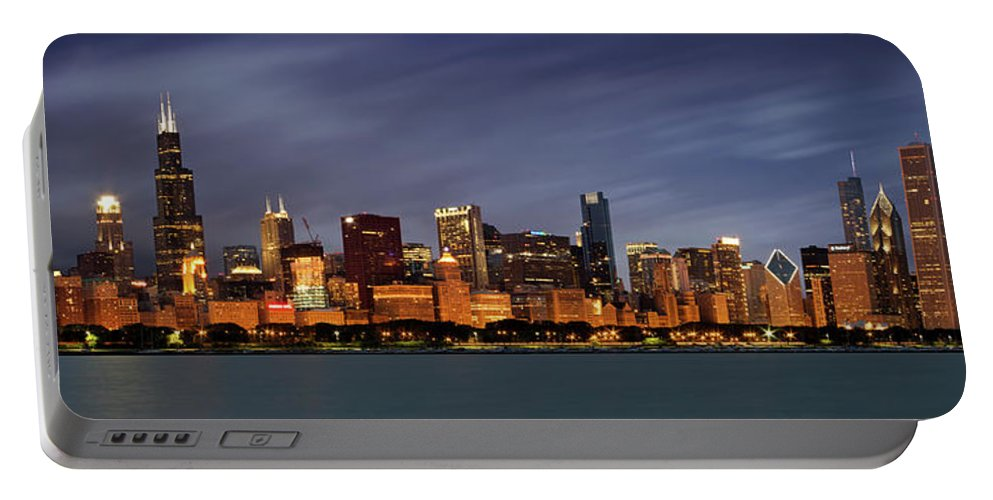 3scape Portable Battery Charger featuring the photograph Chicago Skyline at Night Color Panoramic by Adam Romanowicz