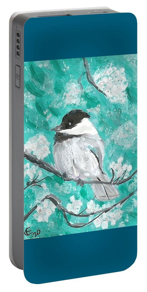 Chickadee Painting Portable Battery Charger featuring the painting Chickadee by Monica Resinger