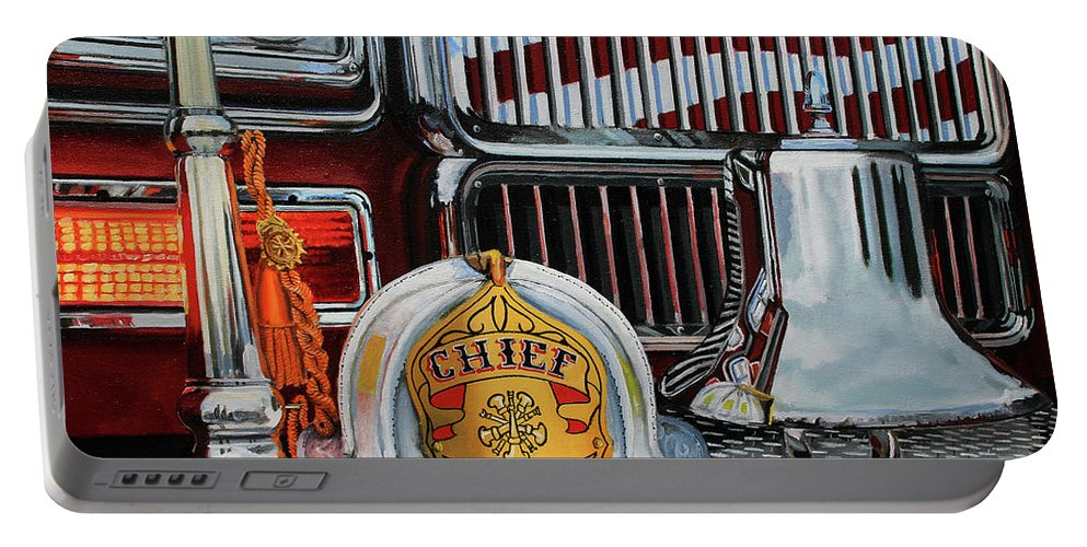 Fdny Portable Battery Charger featuring the painting Chief's Trumpet by Paul Walsh