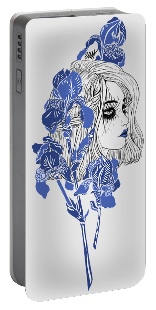 Digital Art Portable Battery Charger featuring the digital art China girl by Elly Provolo