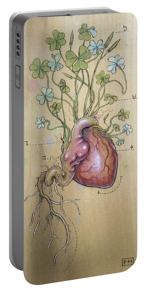 Clover Portable Battery Charger featuring the pyrography Clover Heart by Fay Helfer