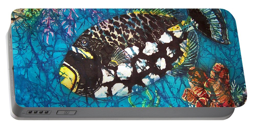 Clown Portable Battery Charger featuring the painting Clown Triggerfish by Sue Duda
