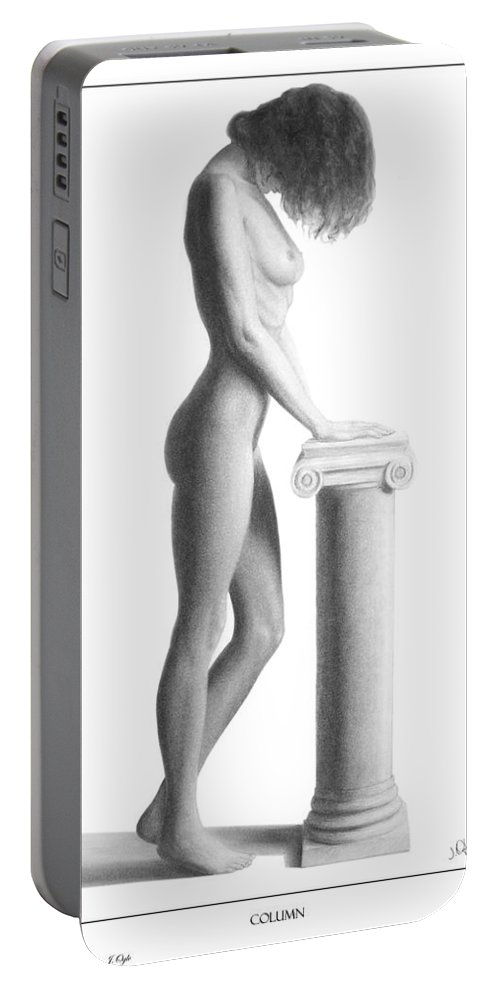 Print Portable Battery Charger featuring the drawing Column by Joseph Ogle